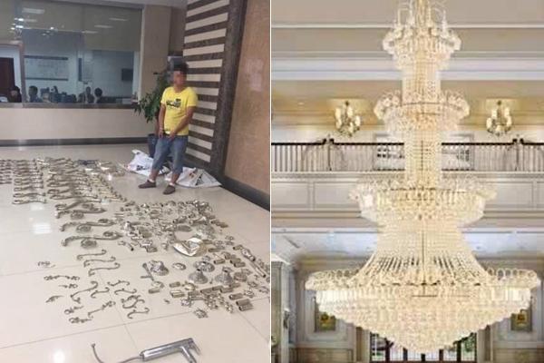 他进别墅拆走20万元吊灯 出门遇房主