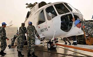 中国第一支维和直升机分队抵苏丹