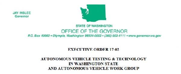 华盛顿州州长发布行政令 推进自动驾驶汽车上路测试