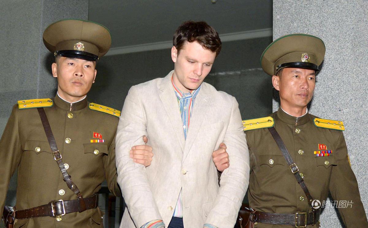 美国大学生朝鲜偷条标语判15年监禁 刚获释