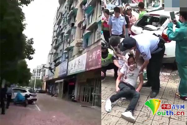男子酒后与妻吵架从三楼跳下 头部砸中路边宝马