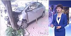 女司机穿拖鞋开车 卡在油门上径直撞树