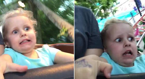 3岁女孩首次体验过山车 兴奋瞬间变惊恐