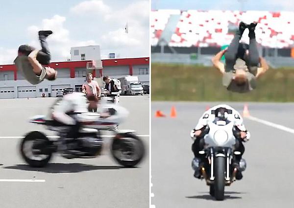 刺激!俄男子前空翻跃过高速行驶摩托