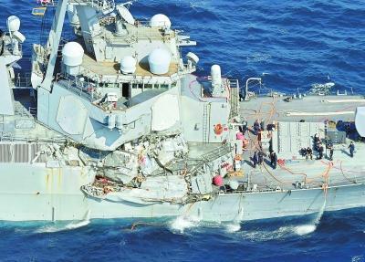 日媒:美军舰与货船同向相撞 邮船公司正调查