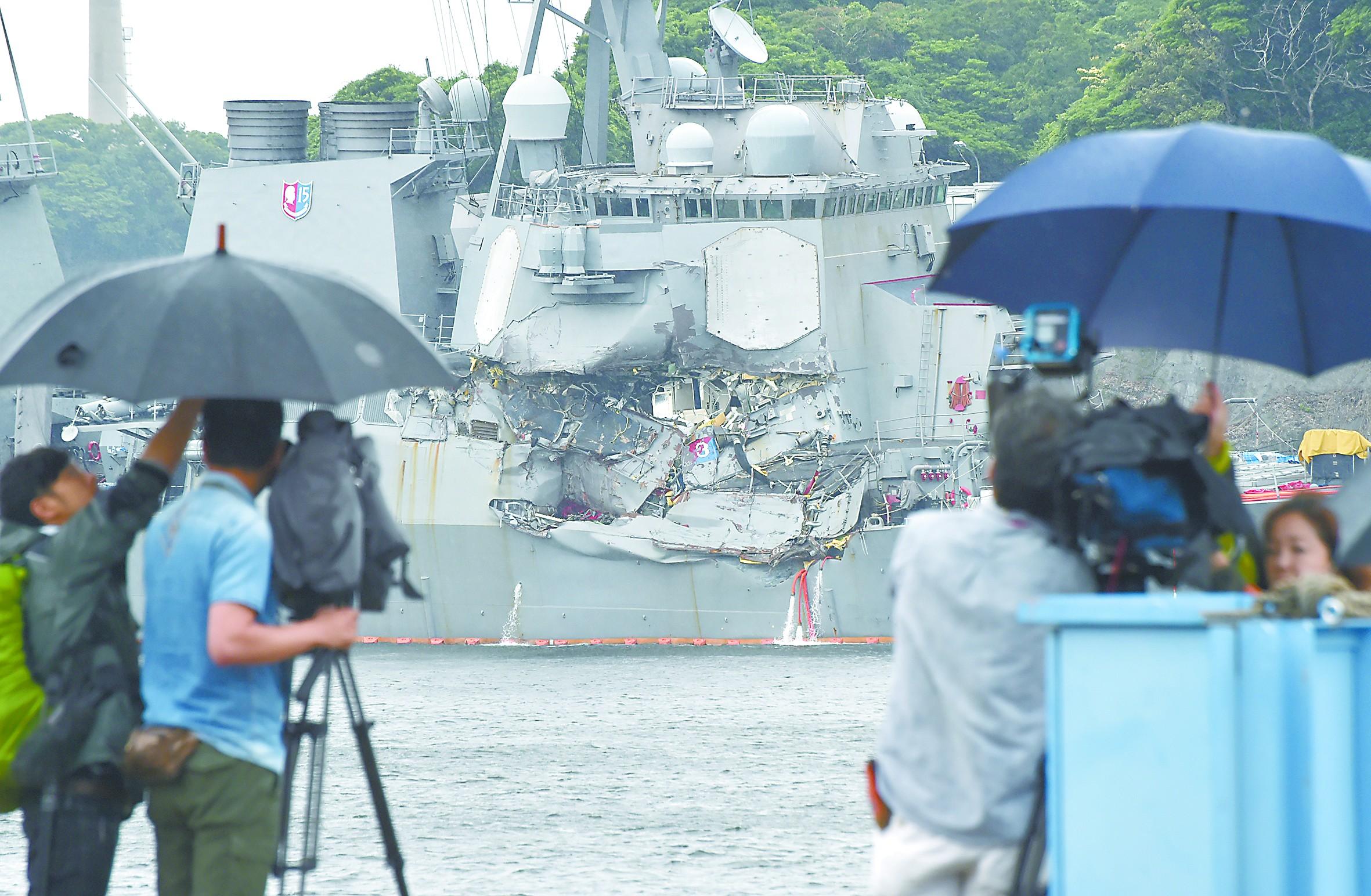 宙斯盾舰离奇撞上货船 七士兵之死震动美海军