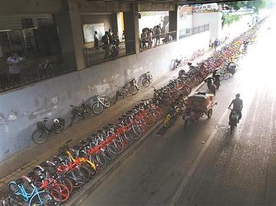 """北京知春路现400多米共享单车""""长龙""""(图)"""