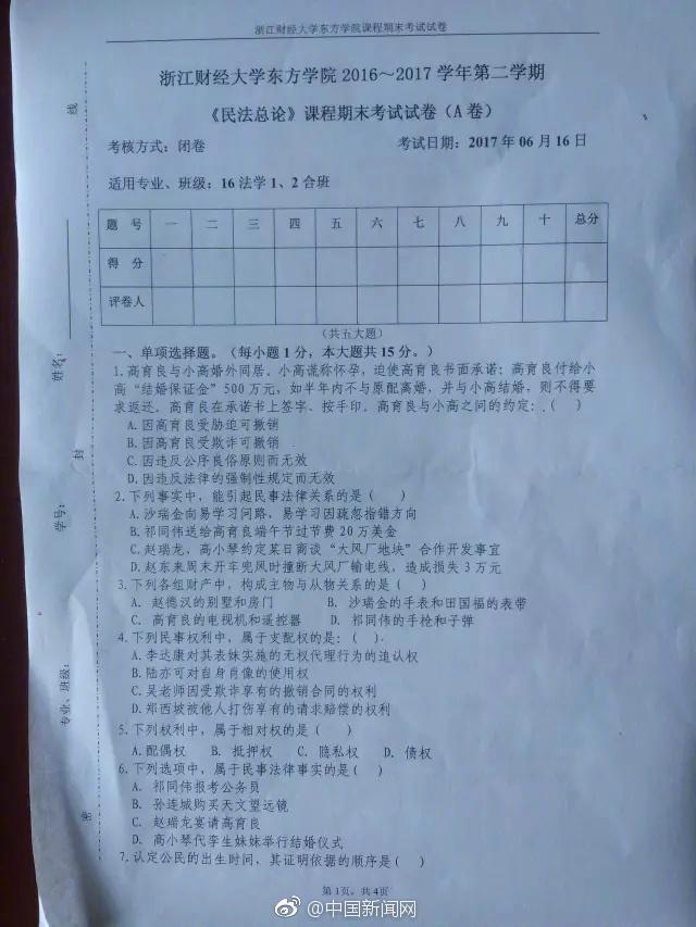 杭州一大学期末通篇考《人民的名义》 你能拿几分?