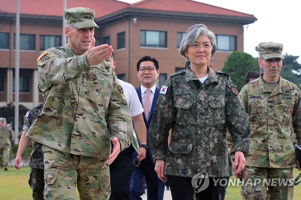 韩外长访问驻韩美军部队 重申韩美同盟关系重要性