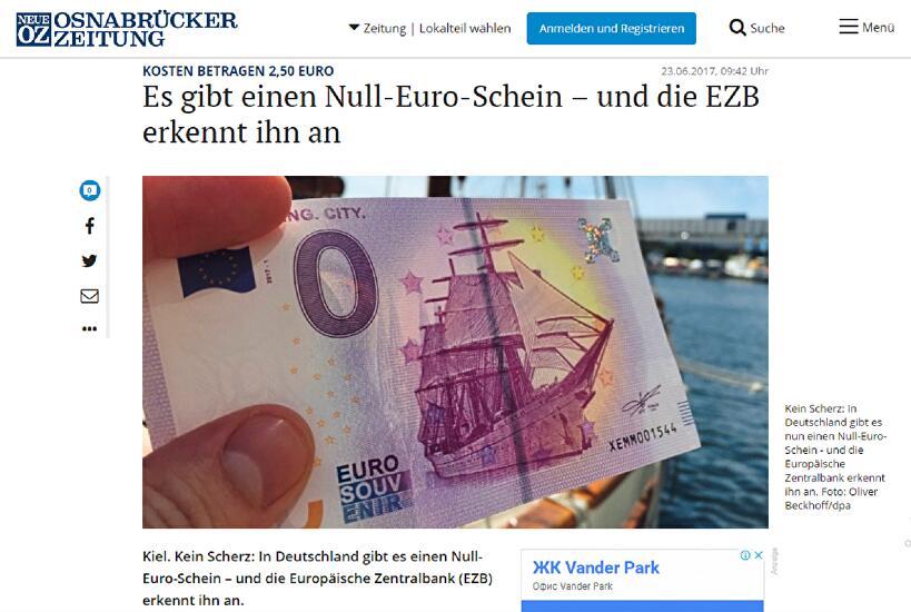 德国印制面值零欧元的钞票 购买需2.5欧元