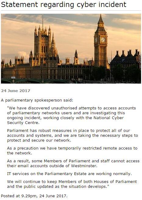 黑客攻击英议会邮件系统:或波及90位议员账号