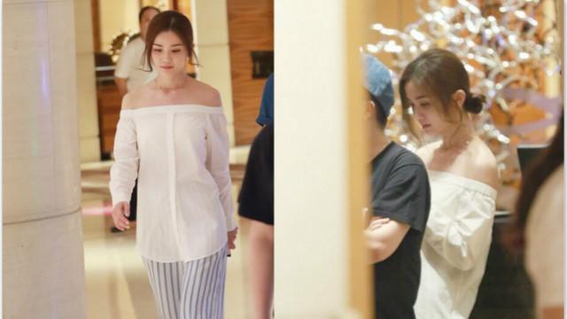 蔡卓妍穿一字领小露香肩