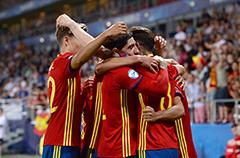 欧青赛-西班牙3-1意大利队 萨乌尔戴帽