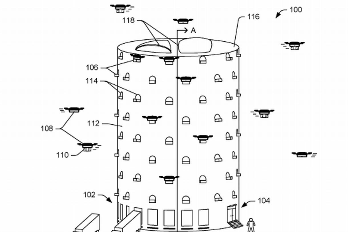 亚马逊快递无人机塔申请专利 外表神似蜂巢