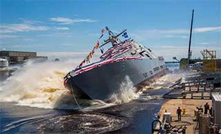 美军第15艘濒海战斗舰下水