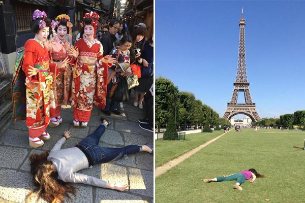 """反对自拍 外国女艺术家全球各地""""趴地拍照"""""""
