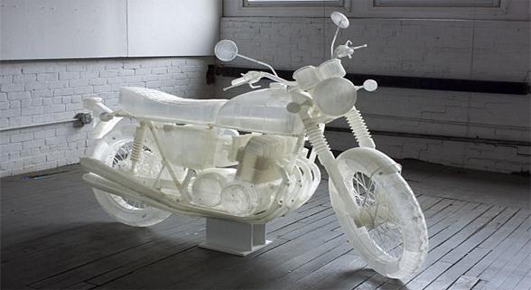 震撼!艺术家用3D打印1:1复制本田CB500摩托车