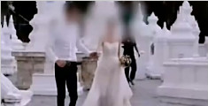 中国情侣在泰国寺庙拍婚纱照 被批不尊重佛教