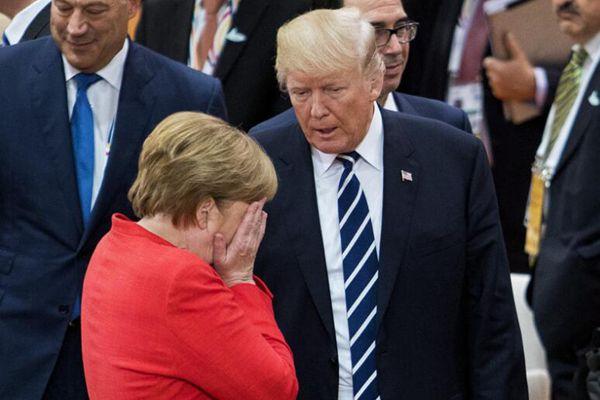 默克尔表情包出炉:对特朗普掩面 对普京翻白眼
