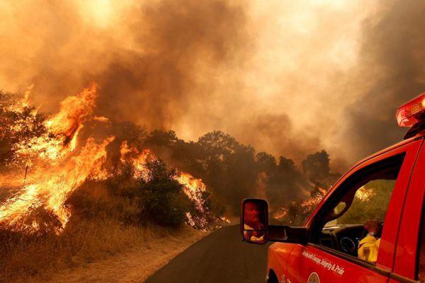 美国加州发生森林火灾 烧焦6000多英亩土地