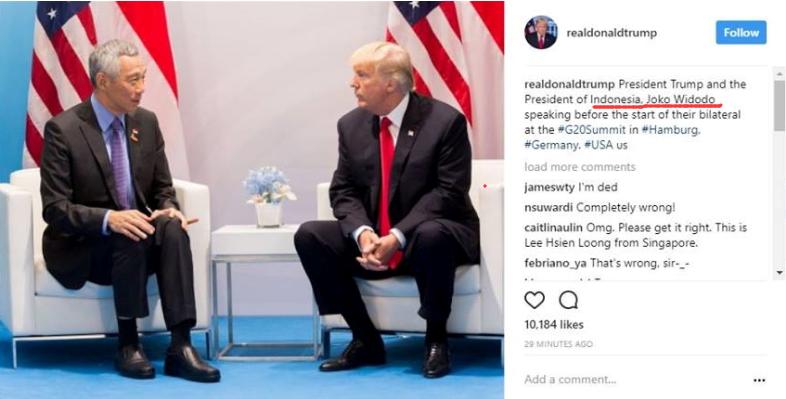 脸盲症?特朗普会见李显龙,却把对方当作印尼总统维多多