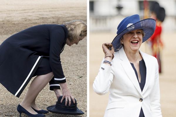 英国内政大臣帽子被大风吹跑 乐坏首相特蕾莎·梅