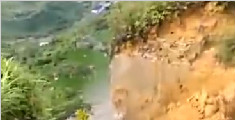 贵州贞丰一山体崩塌 手机记录惊险一刻