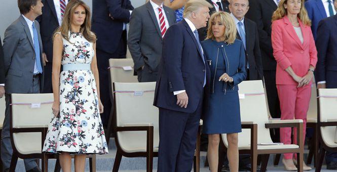 """自己老婆晾在一边 特朗普同法""""第一夫人""""热聊"""