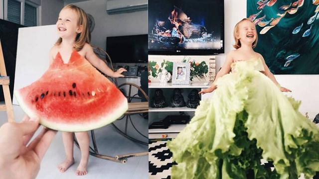 """超有爱!妈妈将女儿变成""""蔬果女孩"""""""