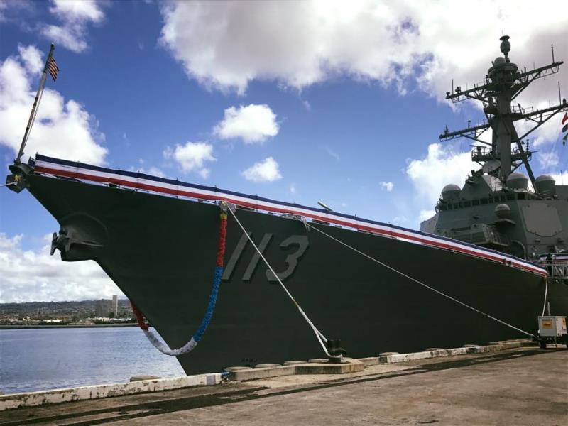 美军最新一艘伯克级服役 美上将:强权支撑和平