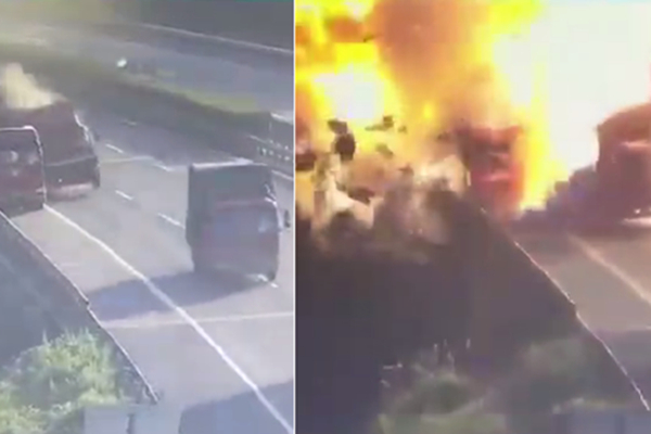 杭州:货车追尾相撞后猛烈爆炸