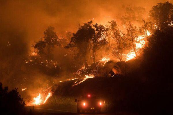 美国加州蝴蝶镇发生山火 火势汹涌照亮黑夜
