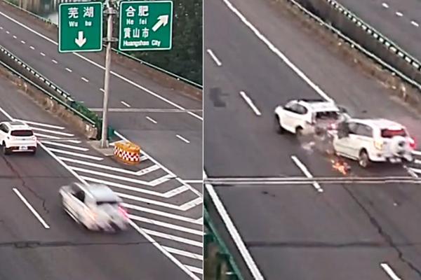 轿车高速上倒车遭追尾 瞬间被撞烂