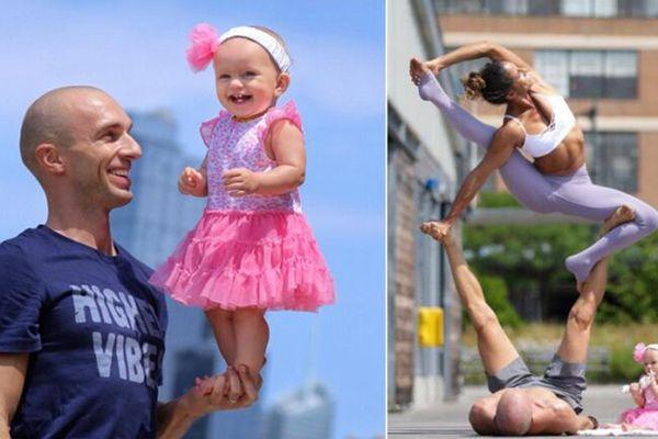 国外夫妇带8月大女儿做瑜伽,秀高难度动作