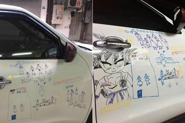 女儿在车身上画画 爸爸:宁被开罚单也不擦