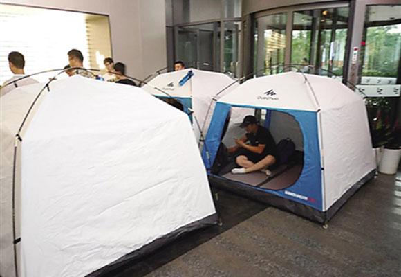 乐视大厦扎满讨债者帐篷 供应商称已讨债半年