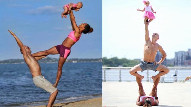 国外夫妇带女儿做瑜伽 秀惊人平衡术
