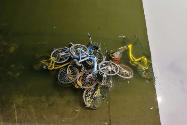 北京护城河水位降低 近百辆共享单车现河床