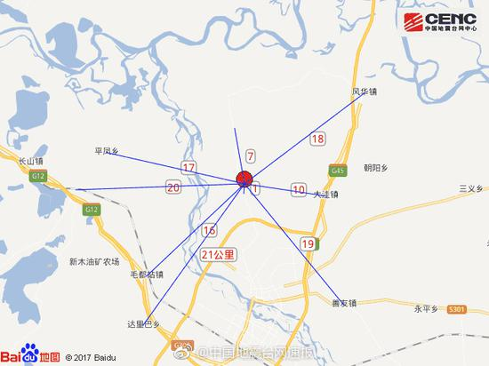 吉林松原宁江区发生4.9级地震 震源深度12千米