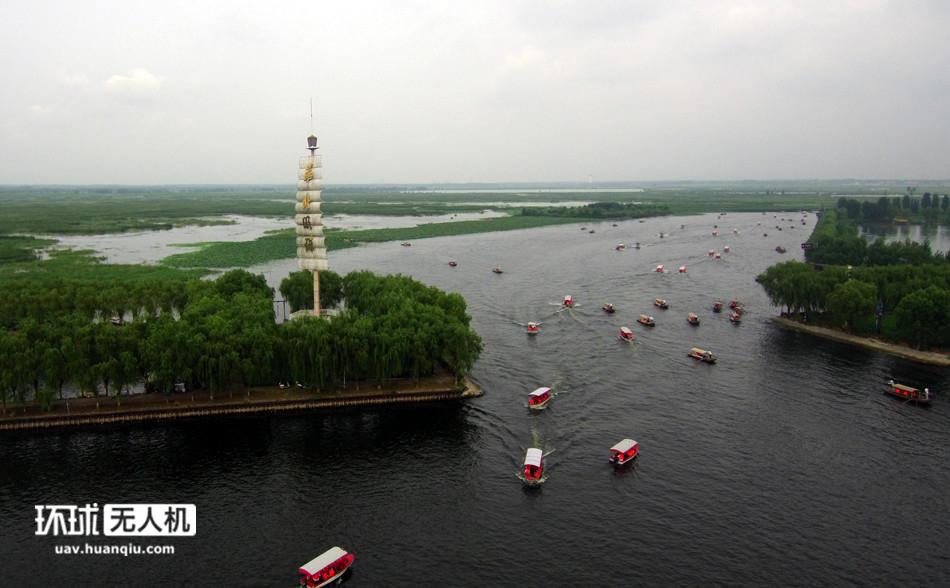 航拍:位于雄安新区的白洋淀 水上航道如公路