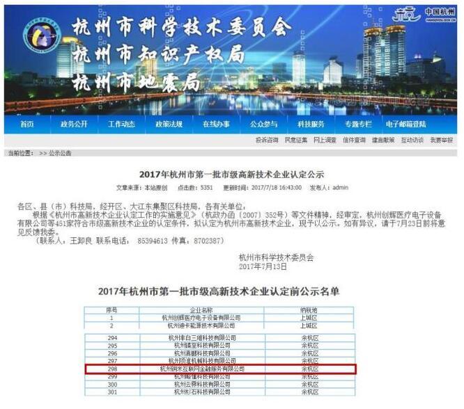 铜掌柜荣登杭州市第一批高新技术企业名单