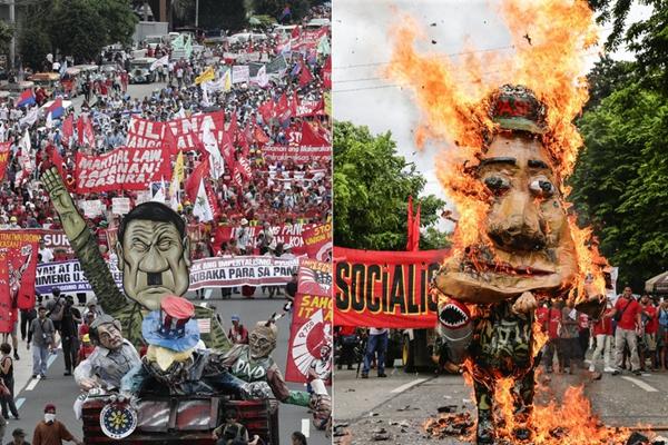 杜特尔特发表国情咨文 反对者街头焚烧其人像抗议