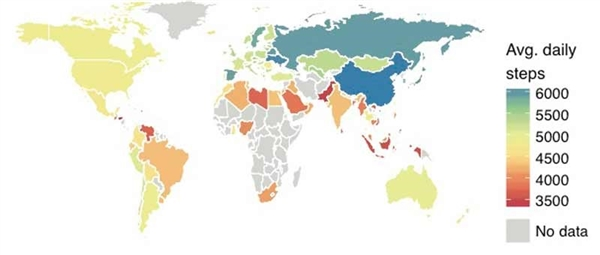 走路地图公布:中国夺冠/平均步数和肥胖没关系