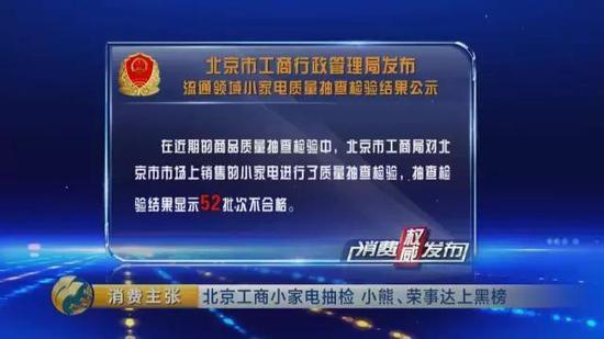 北京工商局小家电抽检:小熊、荣事达上黑榜