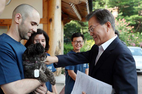 履行承诺 韩总统文在寅领养弃犬入住青瓦台
