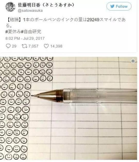 一支中性笔能画多少个笑脸?真有人测试了