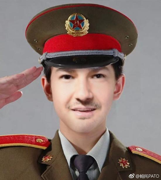 帕托发军装照:中国军人辛苦了 祝中国建军节快乐