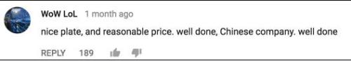 网友@Wow LoL表示: 中国防弹板很赞,价格也合理。中国公司干得漂亮!