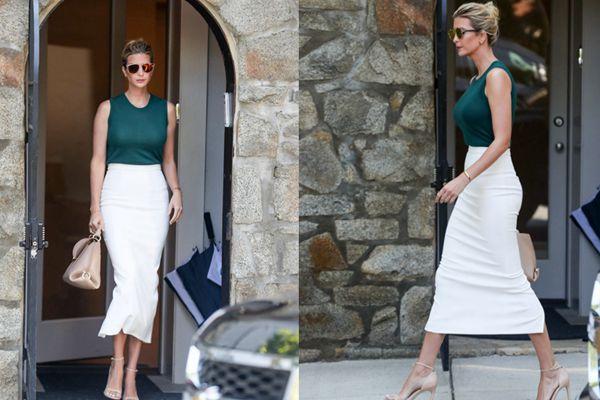 伊万卡离家赴白宫工作 白色铅笔裙秀出窈窕好身材