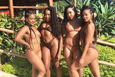 黑人女子拍摄集体泳装秀 展示黑色元素之美